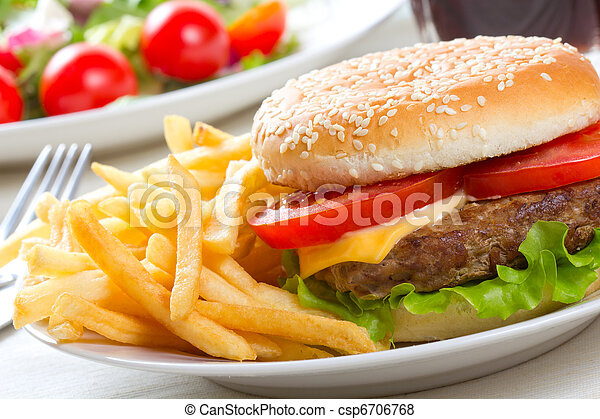 hamburger with fries - csp6706768
