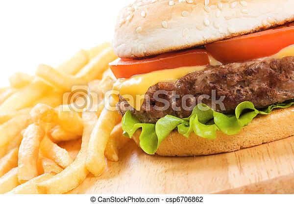 hamburger with fries - csp6706862