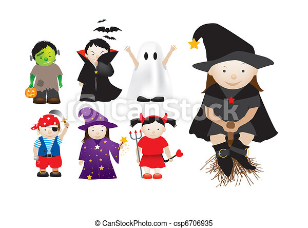 childrens dressing up in fancy dress for parties and halloween - csp6706935
