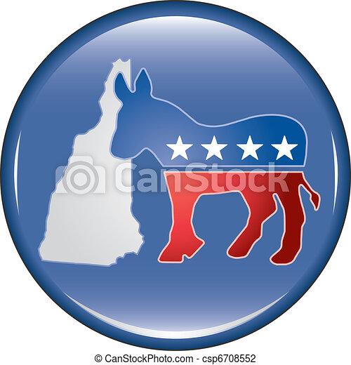 Democrat New Hampshire Button - csp6708552