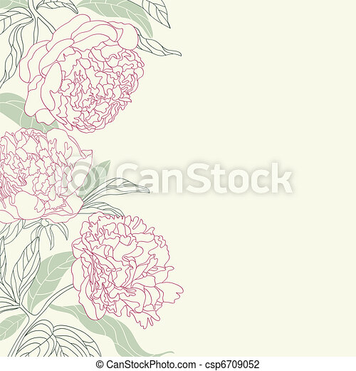 Hand drawing peony flowers frame. - csp6709052