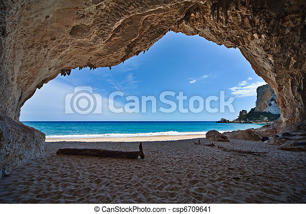 paradise cave sea blue sky vacation - csp6709641