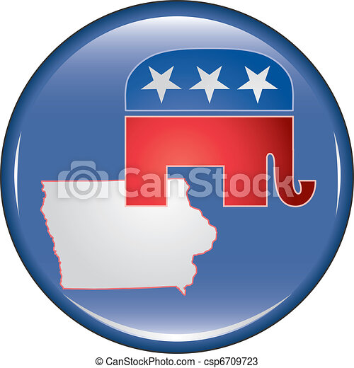 Republican Iowa Button - csp6709723