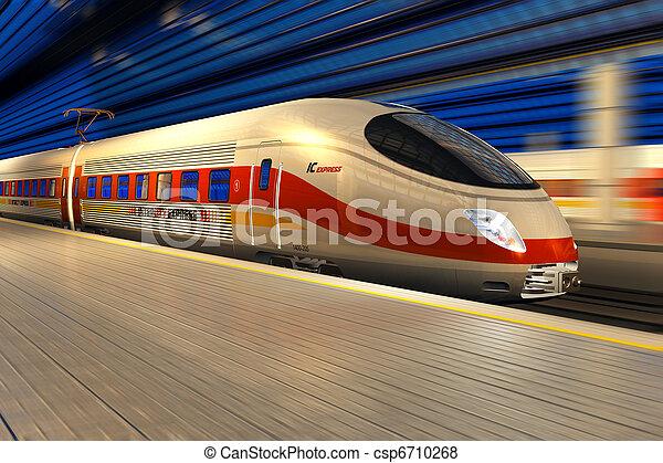 train, moderne, élevé,  station, nuit, ferroviaire, vitesse - csp6710268