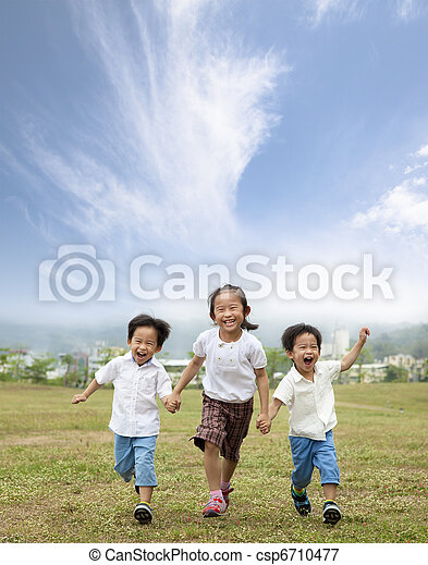 happy running asian kids - csp6710477