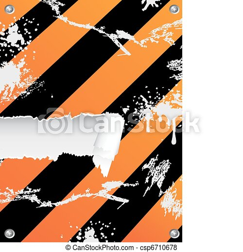 grungy hazard stripes background with ripped copy-space - csp6710678