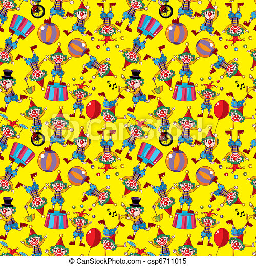 seamless cartoon circus clown pattern  - csp6711015