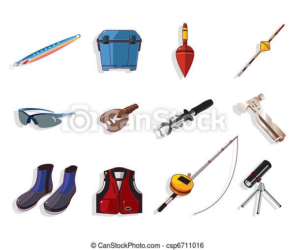 cartoon fishing equipment tools icon set , vector - csp6711016