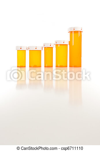 Empty Medicine Bottles on Reflective Surface - csp6711110