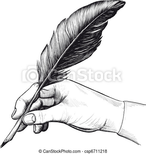 drawing of hand with a feather pen - csp6711218