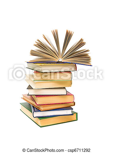 open book on a pile of books isolated on a white background - csp6711292