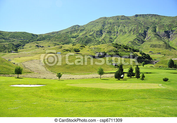 Golf course in the Swiss Alps - csp6711309
