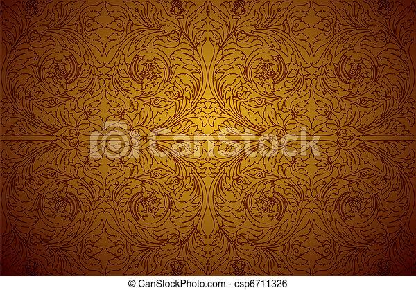 Clip Art Vector Of Ornament Gold Background Cambodia