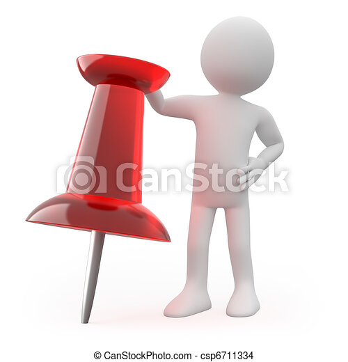 Man leaning on a huge red pushpin - csp6711334