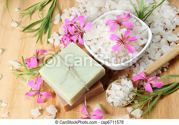 Sea Salt and Handmade Soap with Flowers - csp6711578