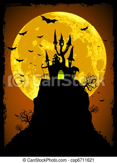 Scary halloween vector with magical abbey. EPS 8 - csp6711621
