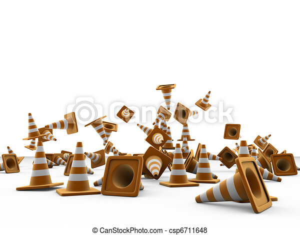 road cones isolated on white background - csp6711648