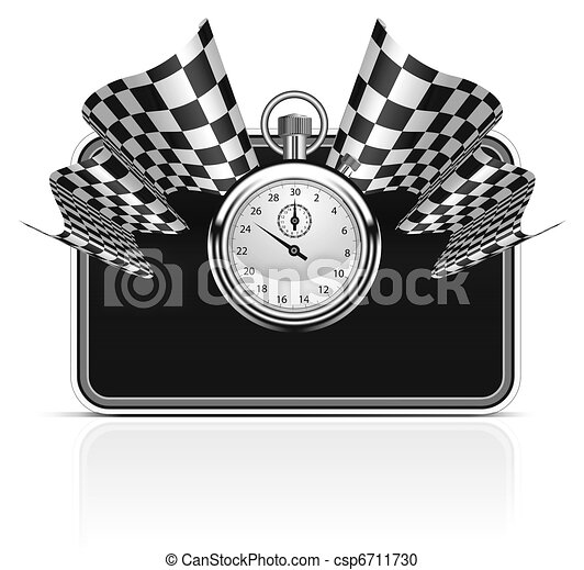 Checkered flag with a stopwatch background - csp6711730