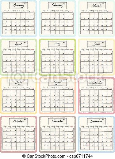 Handwritten 2012 Calendar  - csp6711744