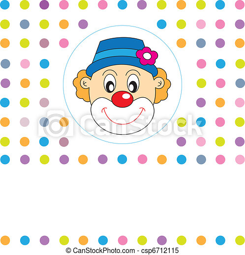 Greeting card. Clown  - csp6712115