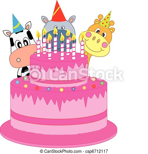 Vectors Illustration of Birthday cake. funny birthday card with ...
