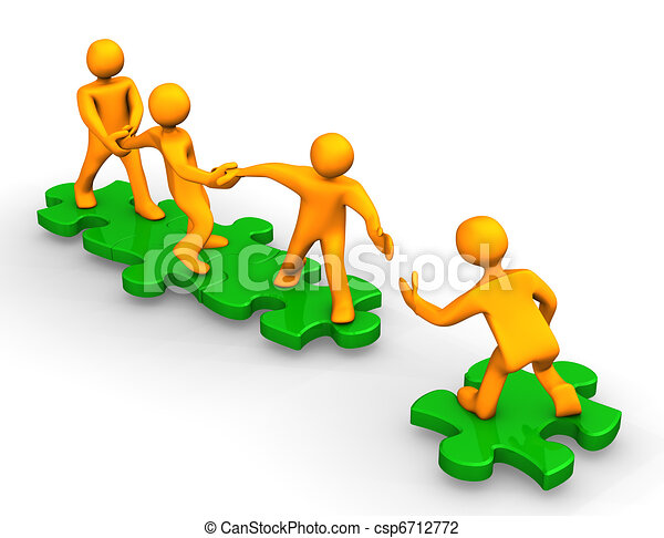 Clip Art of Teamwork Help - Orange cartoons on the green puzzles ...