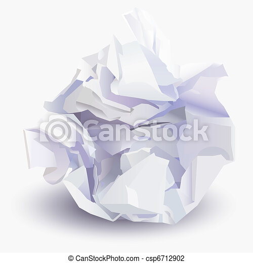 Crumpled sheet of paper to paper ball, vector illustration - csp6712902