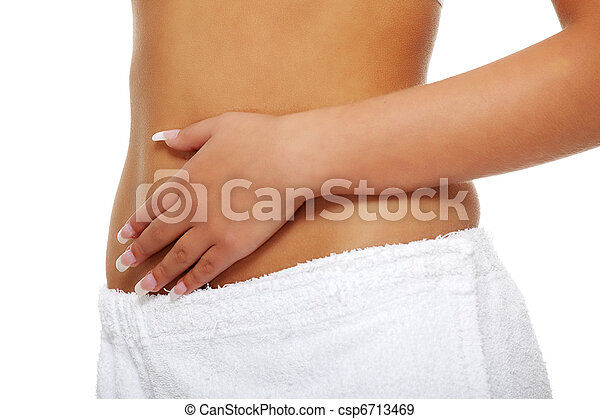 Woman touching her belly - csp6713469