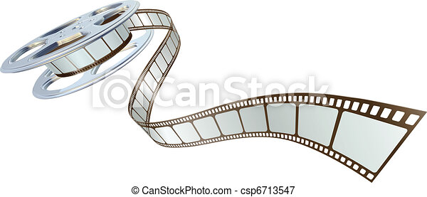 Movie film spooling out of film reel - csp6713547