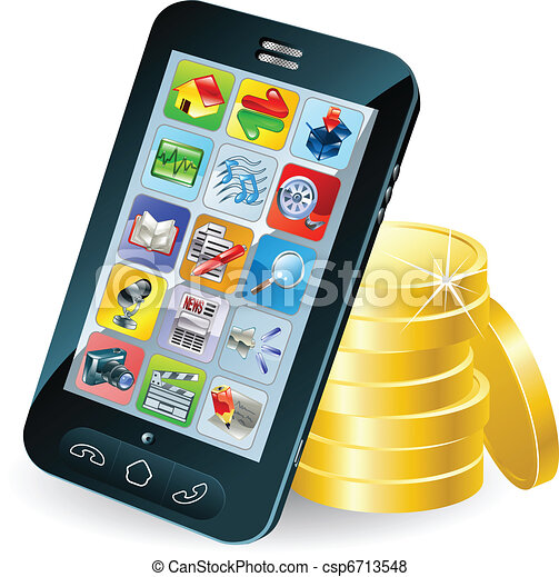 Smart phone and coins illustration - csp6713548