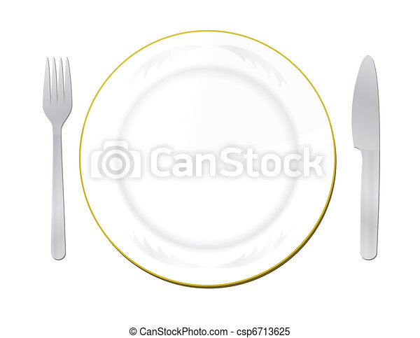 Knife, white plate and fork - csp6713625