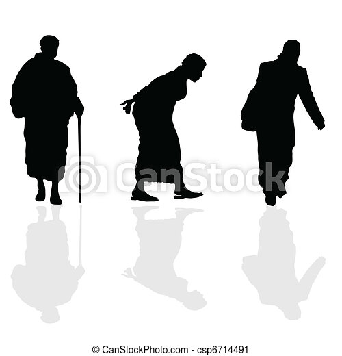 old woman walking black silhouette - csp6714491