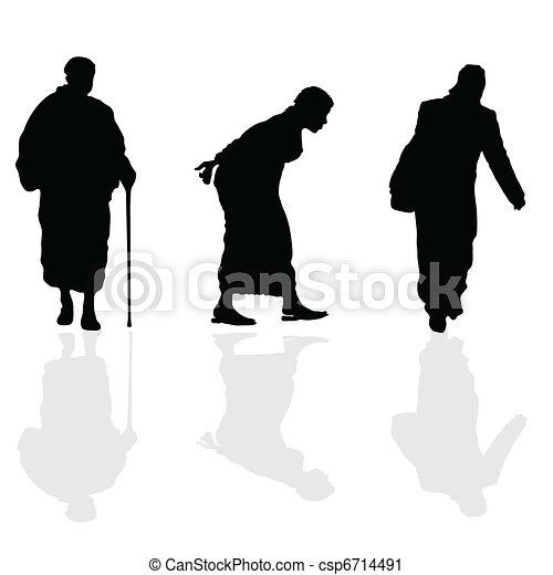 old woman walking black silhouette - csp6714491