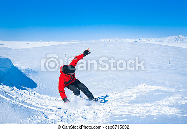 Man moves on snowboard - csp6715632