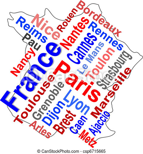 France map and words cloud with larger cities - csp6715665