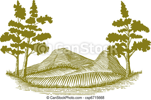 Woodcut Wilderness Scene - csp6715668