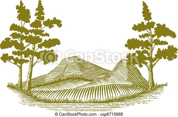 Woodcut Wilderness Scene - csp6715668