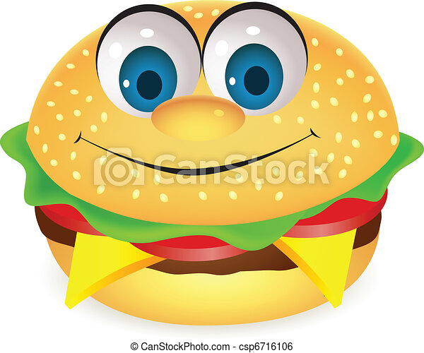 Burger cartoon character - csp6716106