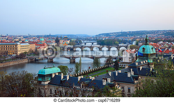 View on Prague Bridges  - csp6716289