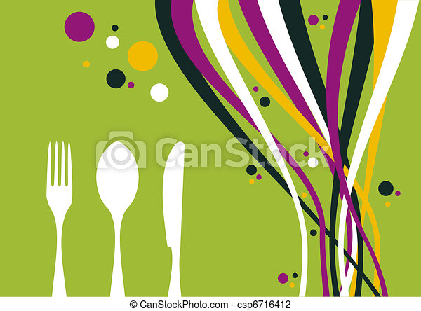 Fork, knife and spoon with multicolored waves background - csp6716412