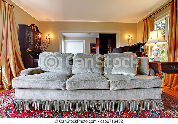 Old antique sofa in the living room - csp6716432