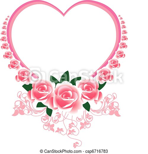 Frame in the Victorian style, with roses and butterflies   - csp6716783