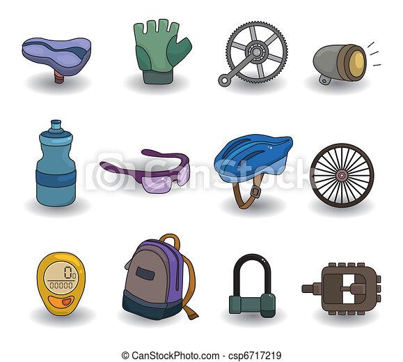 cartoon bicycle equipment icon set - csp6717219