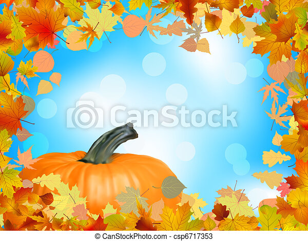 Fall leaves with pumpkin and sky background. EPS 8 - csp6717353