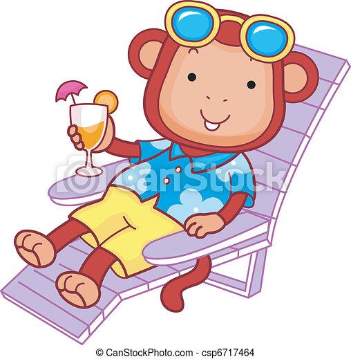 Monkey Enjoying a Drink - csp6717464