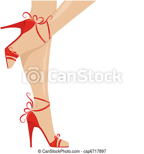 woman legs in fashion shoes - csp6717897
