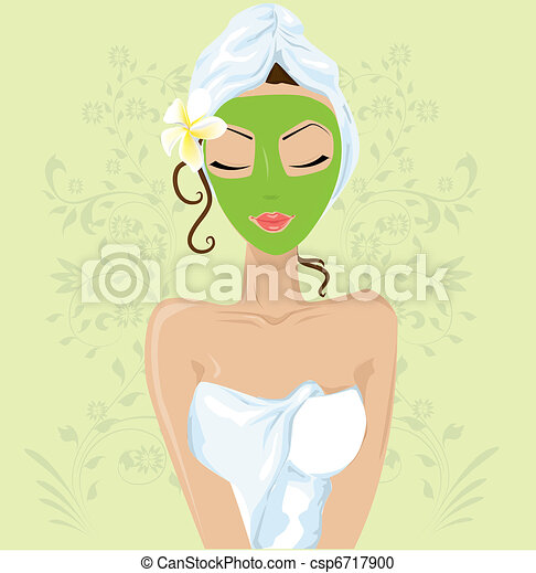 Girl with facial mask  - csp6717900