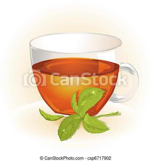 Glass cup of tea with mint  - csp6717902