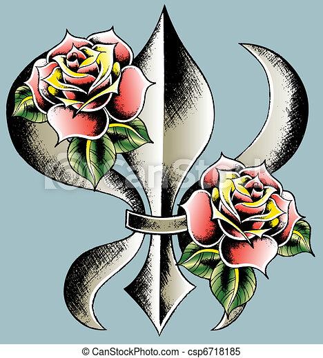fleur de lis emblem shield - csp6718185