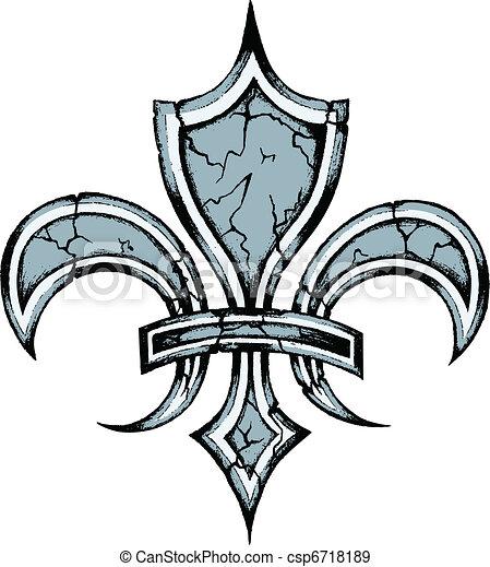 fleur de lis emblem shield - csp6718189